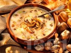 Вкусна чорба / супа от гъби печурки със сметана и фиде или ориз - снимка на рецептата